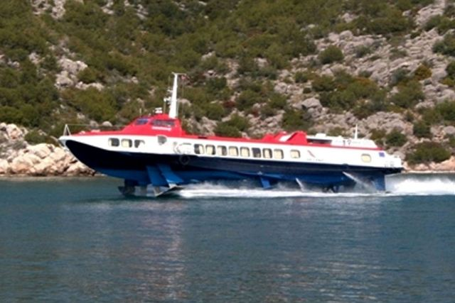 The 'Flying Dolphin' bringing visitors to Ermioni