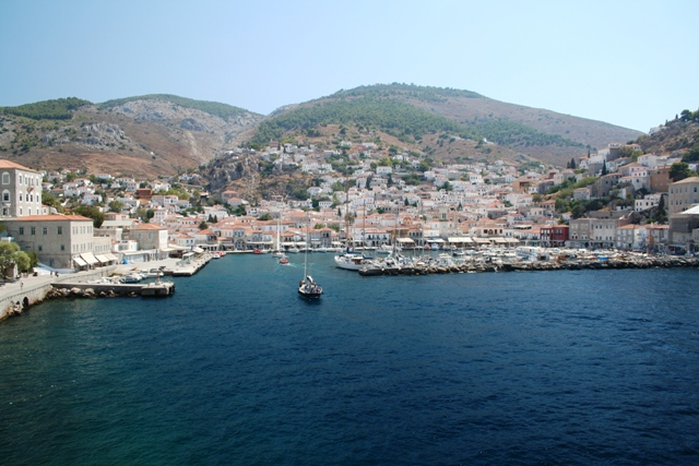 Hydra Island - Sailing into the horseshoe shaped harbour