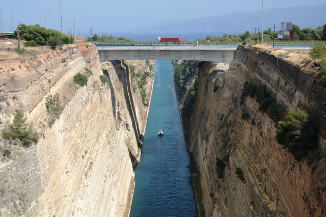 Corinth Canal - The new motorway bridge viewed from the old road bridge