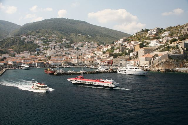Hydra Island - Numerous ships and boats come and go every day