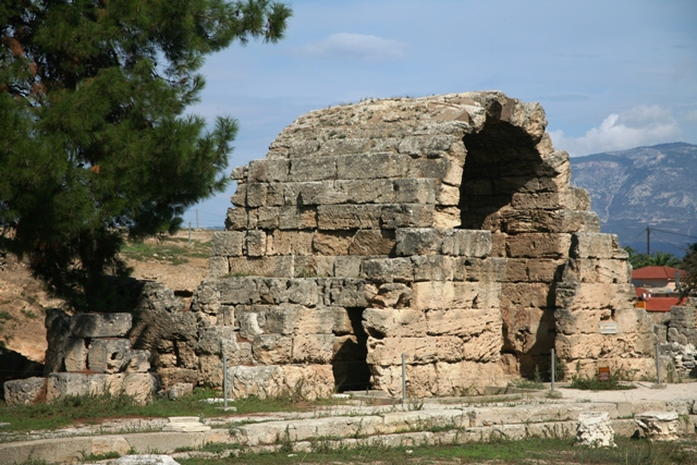 Ancient Corinth - Arched entrance to one of the shops in the Agora