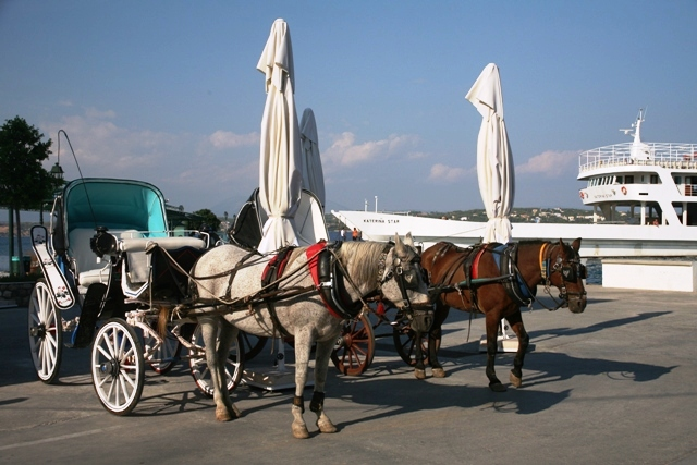 Spetses Island - The ferry-boat behind the traditional one-horse carriages