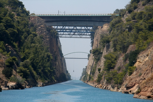 Corinth Canal - It's a long way down - and back up again