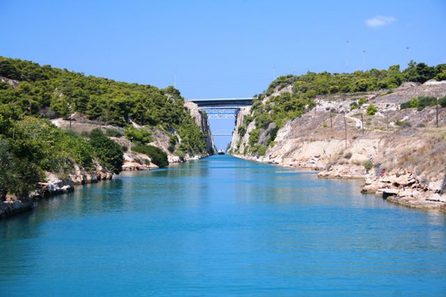 Corinth Canal - The old road bridge - viewed from the Isthmia 'sinking' bridge