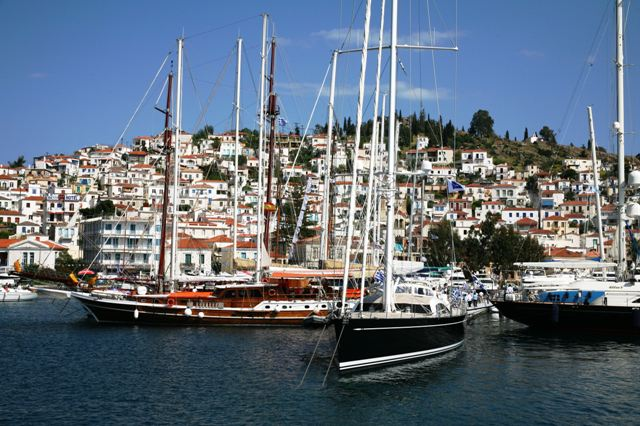 Poros Island - Classic sailing yachts in harbour
