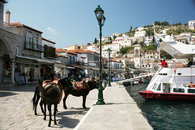 Hydra Island - Numerous tourist shops along the waterfront