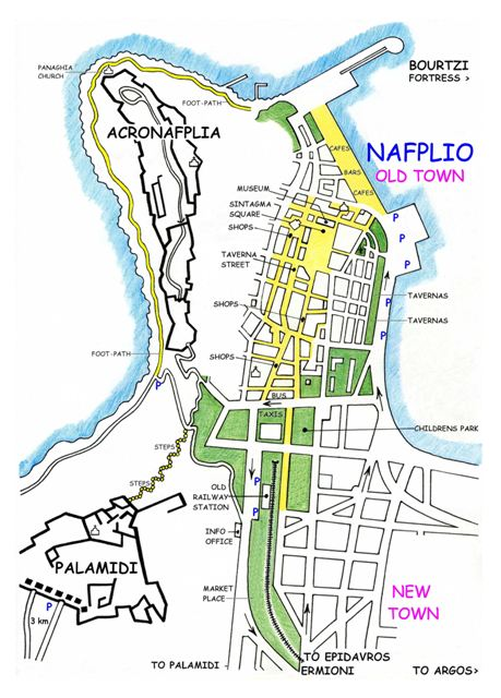 Nafplio - Plan of the 'old town'