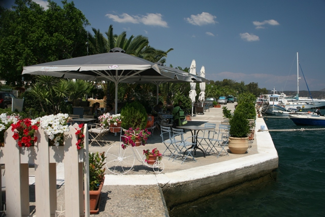 Galatas - Enjoy a refreshing drink in the many waterfront cafes