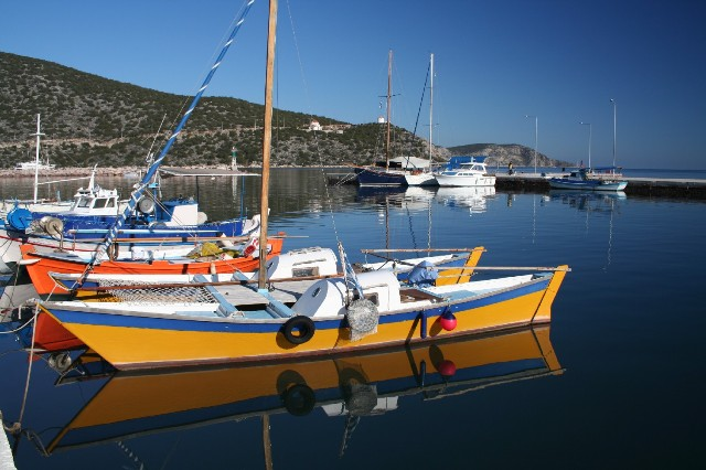Colourful leisure craft at Limani
