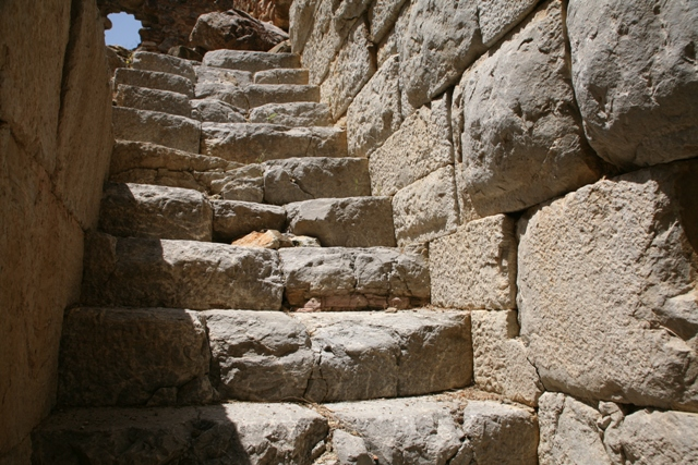 Trizina - Stone steps within the tower of Diateichisma