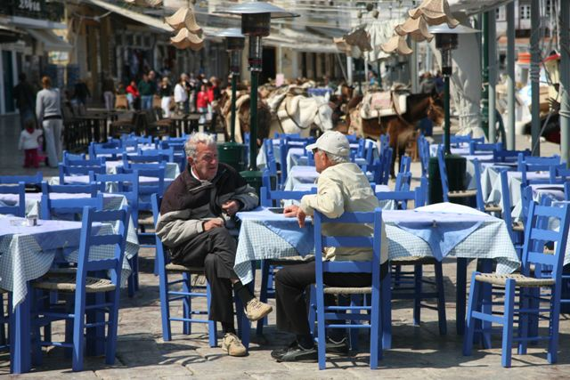 Hydra Island - The locals like to have a few words with friends
