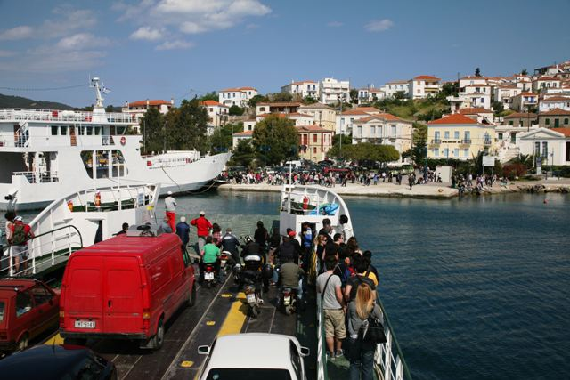 Galatas - Next group of visitors and residents arriving at Poros
