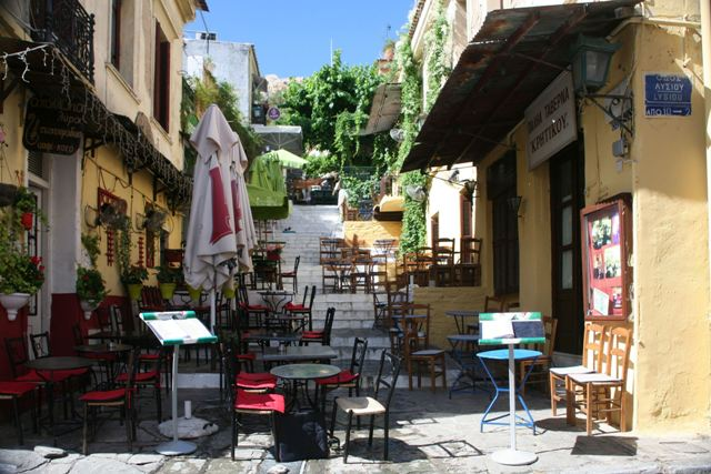 Athens - Plaka tavernas by day