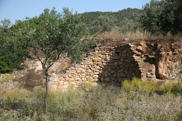 Kazarma - Tholos tomb with the acropolis citadel on the crest of the hill