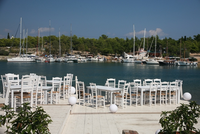 Spetses Island - One of the numerous waterfront cafes or bars