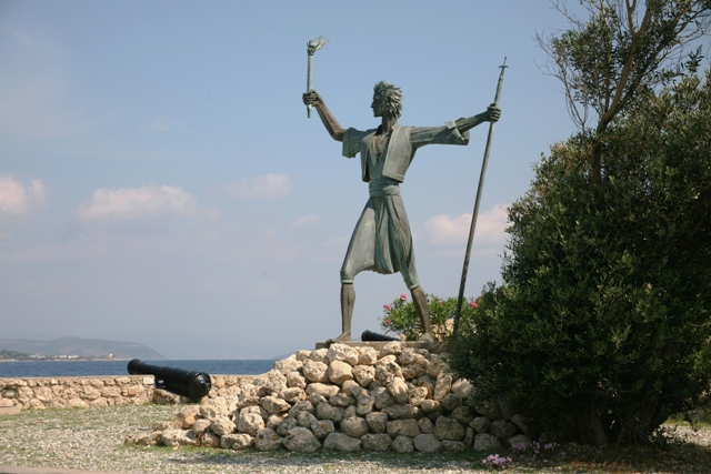 Spetses Island - Statue of Kosmas Barbatsis - hero of the Armata sea battle