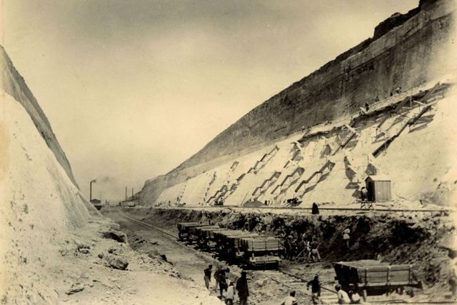 Corinth Canal - Early construction - Late 19th Century