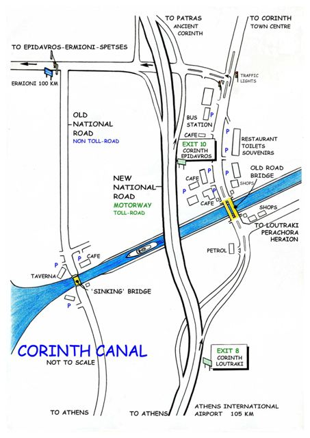 Ancient Corinth - Road directions at the Corinth Canal junction