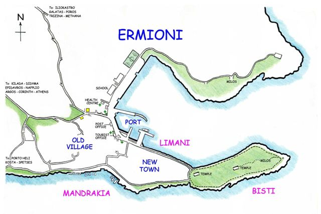 Map showing the Southern Mandrakia coastline of Ermioni