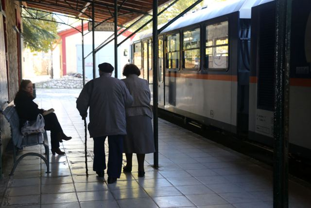 Kalavrita - Local passengers leaving the train station