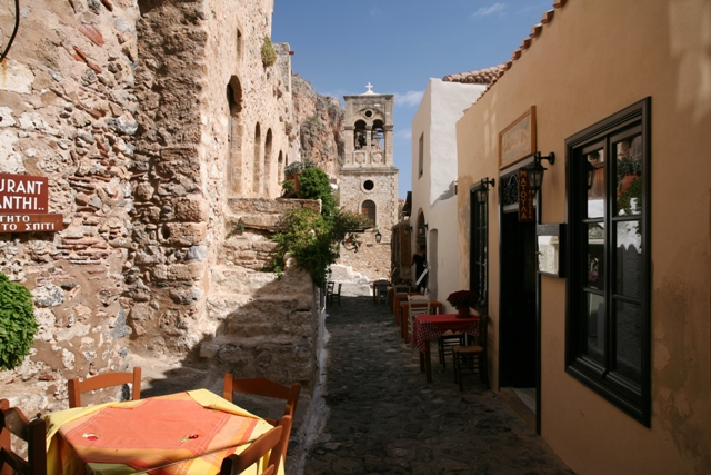 Monemvasia - Cafes and bars leading to the main square