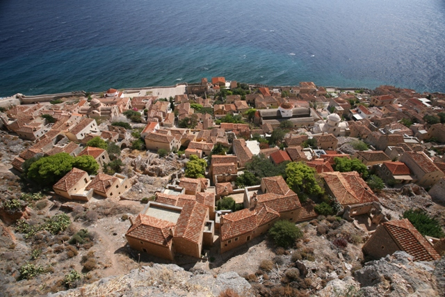 Monemvasia - Lower Town viewed from the castle battlements