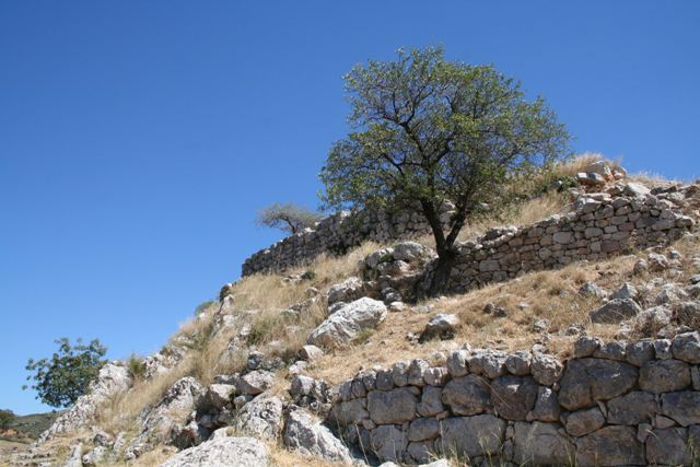 Mycenae - Looking up to the palace complex