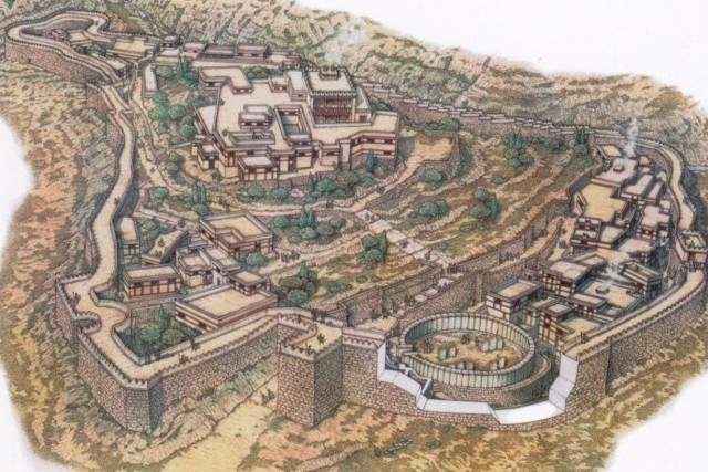 Mycenae - Artist drawing of the Mycenaean citadel
