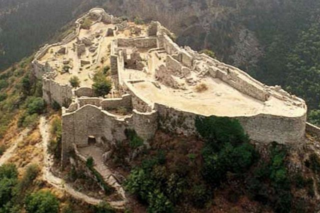 Mystras - Aerial view of the castle of Myzithras