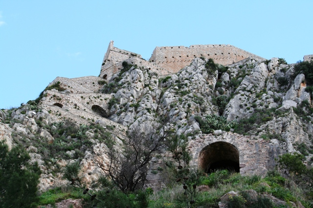 Nafplio - The covered access of the Palamidi fortress steps