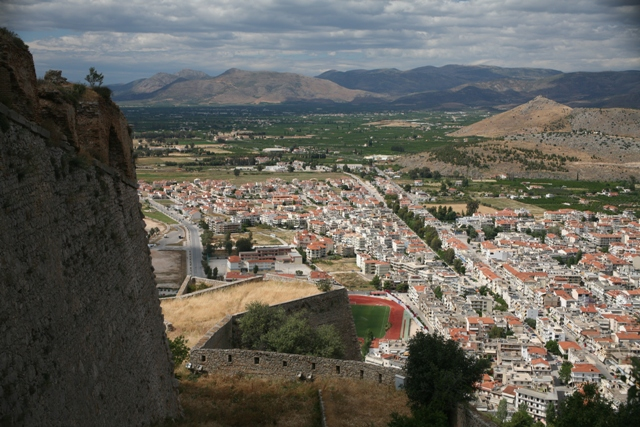 Nafplio - View of the new town looking towards the Tiryns citadel