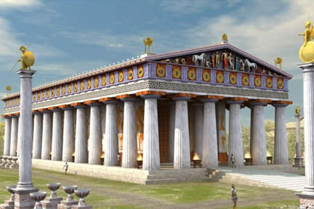 Ancient Olympia - Artist impression of the temple of Zeus