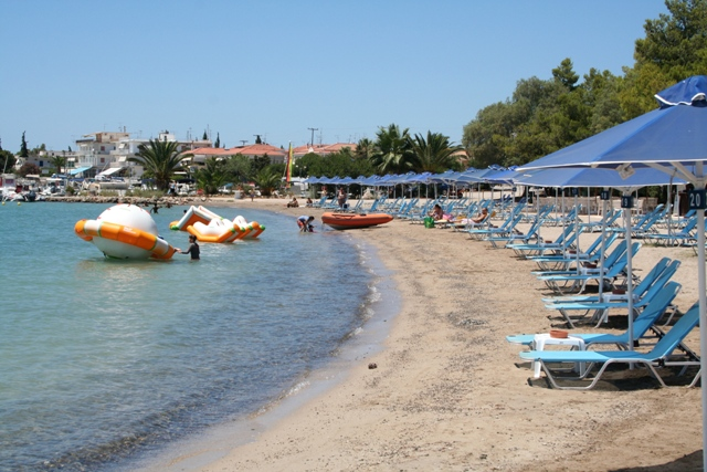 One of the beaches along the main road at Porto Heli