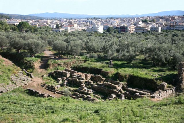 Acropolis of ancient Sparta - The theatre and modern Sparta