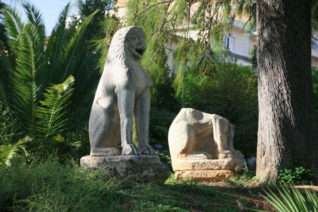 Sparta Archaeological Museum - Exterior lion sculptures