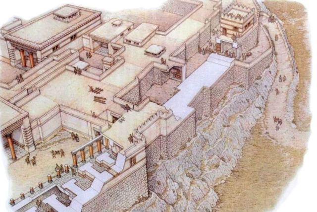 Tiryns - Artist drawing of the main ramp entrance