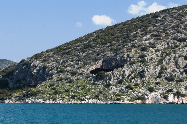 The Cave of Franchthi seen across the bay from Kilada