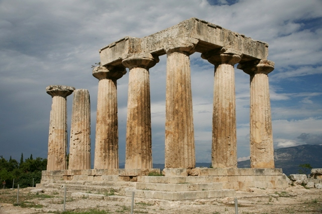 The monolithic Doric columns of the temple of Apollo - mid 6th Cen. BC
