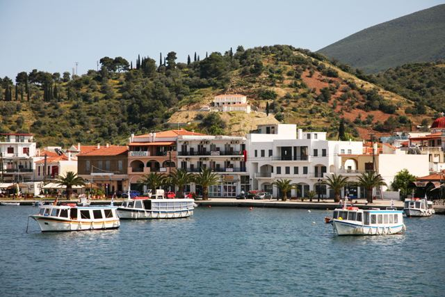 Small boats and ferries will take you across to Poros
