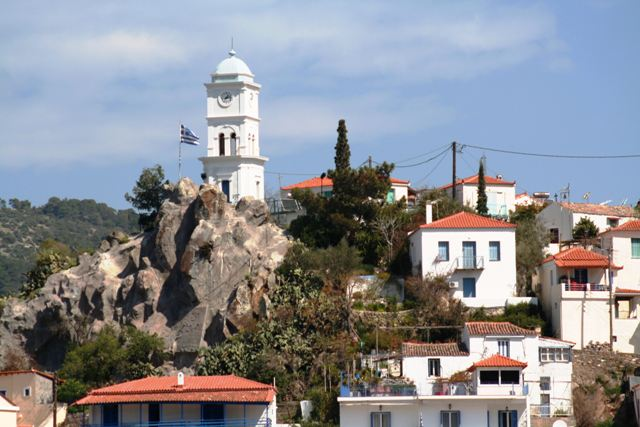 The famous clock tower of Poros