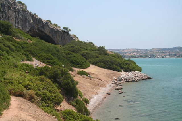 The narrow coastal path leading to the Cave of Franchthi