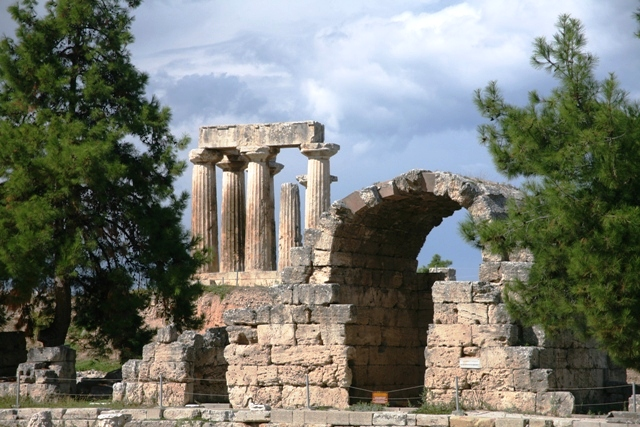 The arch and temple view from the main Agora