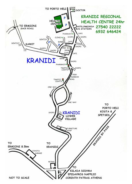 Directions to Kranidi and the Regional Health Centre
