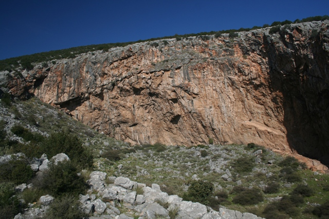Close-up view of the left-hand section of the large cave