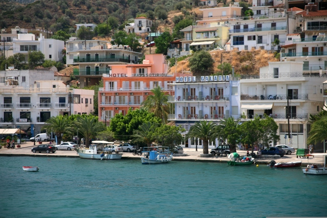 Modern hotels with sea-view across to Poros