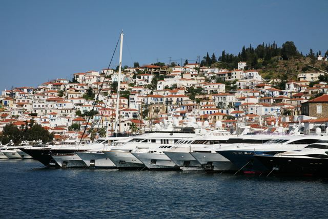 Poros is famous for its range of luxury yachts