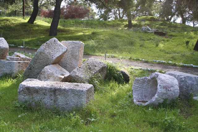 Pediments and columns of the ruined temple of Poseidon