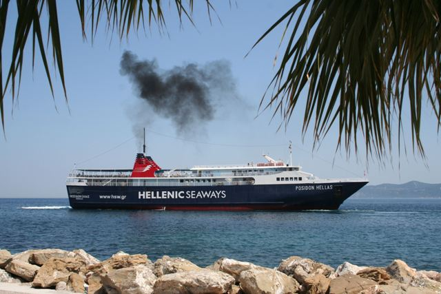 Methana - 'There she blows!' on her way to Poros