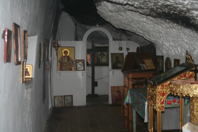 The decorated interior of Aghios Georgios - with icons and murals