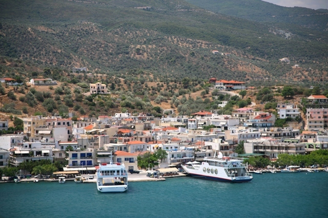 The ferry-boat docking point at Galatas